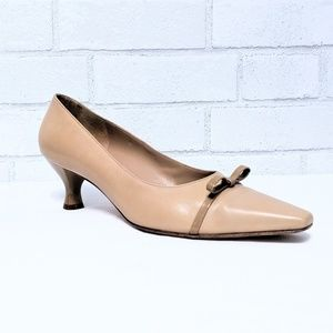 Ferragamo Nude Bow Kitten Heel Pumps 8.5